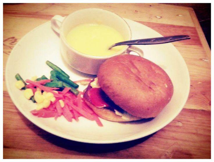 burger. cream soup. vegetables.
