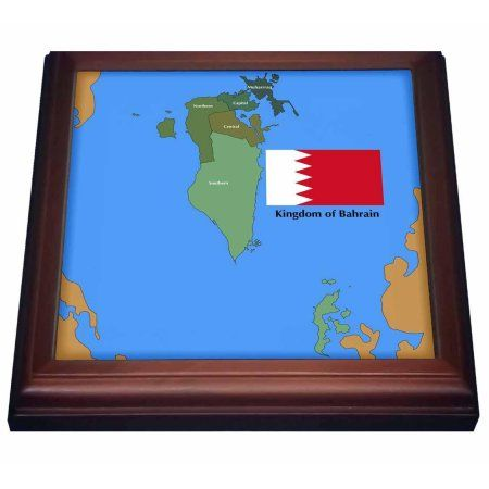3dRose The flag and map of the Persian gulf country, Kingdom of Bahrain with all governing regions marked. , Trivet with Ceramic Tile, 8 by 8-inch