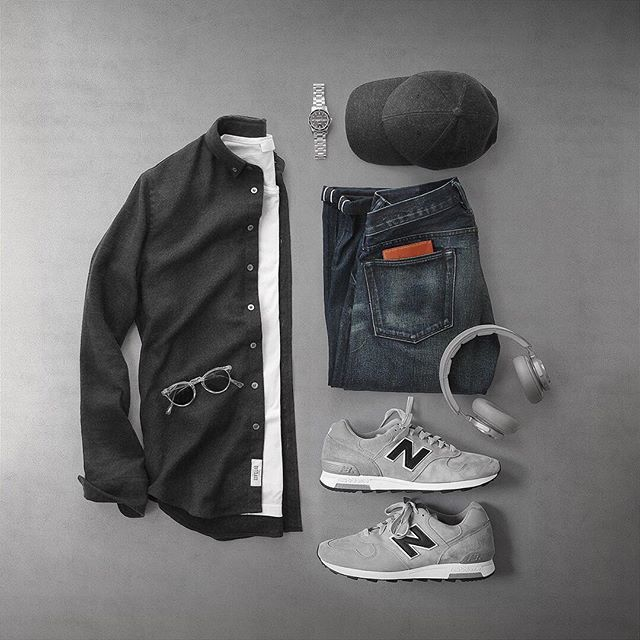 Flannels and sneakers, relaxing all day. Shirt: @outclass_attire Charcoal Heather Twill Flannel Shoes: @newbalanceus X @jcrew 1400 Made in USA Watch: @hamiltonwatch Seaview Auto Headphones: @beoplay H7 Cenere Grey T-Shirt: @handvaerk Sunglasses: @oliverpeoples Gregory Peck Hat: @varsityheadwear Cashmere Denim: RRL @ralphlauren