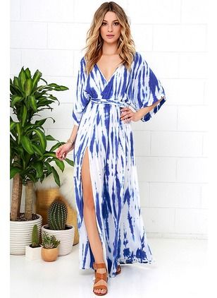 Polyester Stripe 3/4 Sleeves Maxi Sexy Dresses