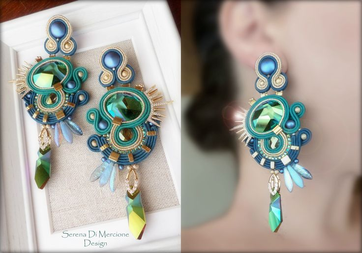 Soutache Earrings - Design by Serena Di Mercione - Swarovski by JeanPaul Gaultier