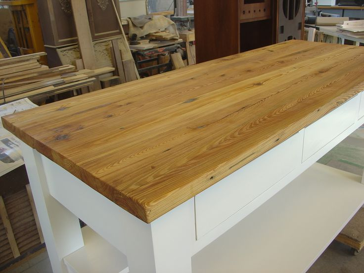 Reclaimed Heart Pine Kitchen Workbench Top Custom