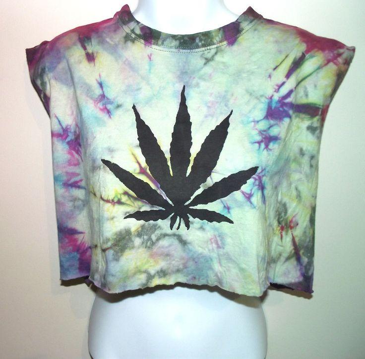 VINTAGE TIE DYE T SHIRT Vest Crop Top Cannabis Weed Huff 90s Retro S M 8 10 12