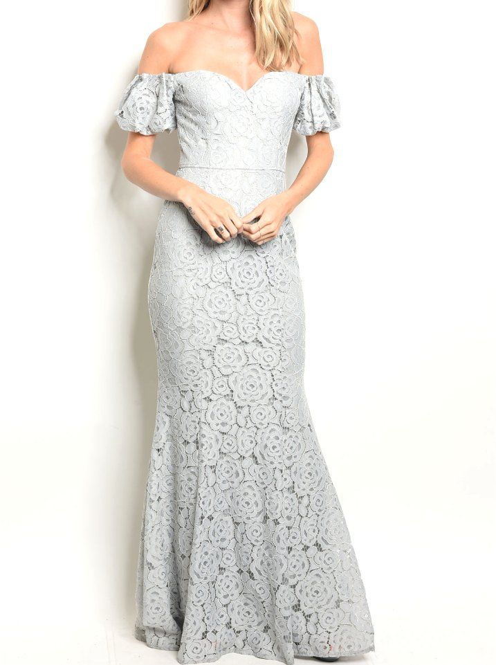 a156b77dc902  43+Off+Shoulder+Puff+Sleeve+Floral+Lace+Mermaid+Hem+Sweeping+Gown+Prom+ Wedding+Formal+Dress