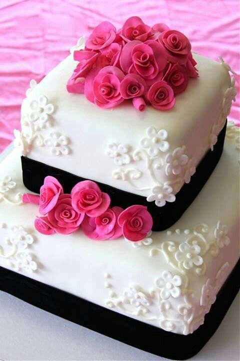 Pink & black wedding cake...LOVE!!