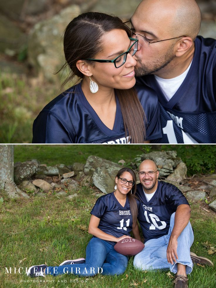 Football Jerseys for Bride and Groom with Wedding Date :: Rustic Barn Engagement Session at Worthington Pond in Somers CT :: Michelle Girard Photography