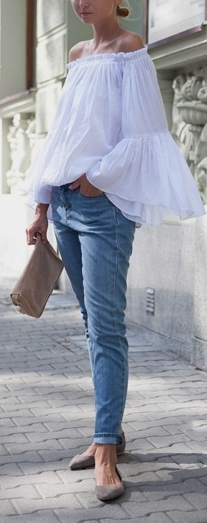 white off the shoulder top with bell sleeves