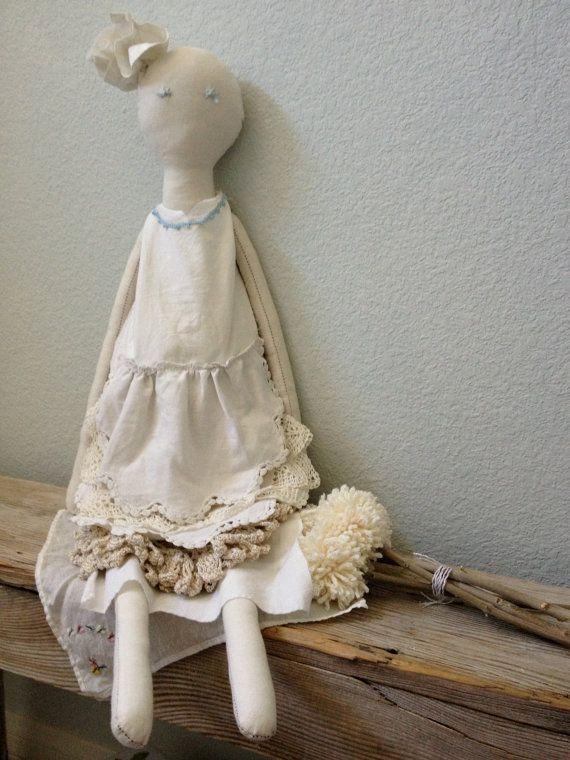 French Style Rag Doll  Handmade Rag Doll  by VintageMarketPlace