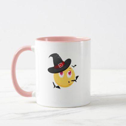 Funny Halloween Emoji Witch Gift  Boy Girl Kids Mug - kids kid child gift idea diy personalize design