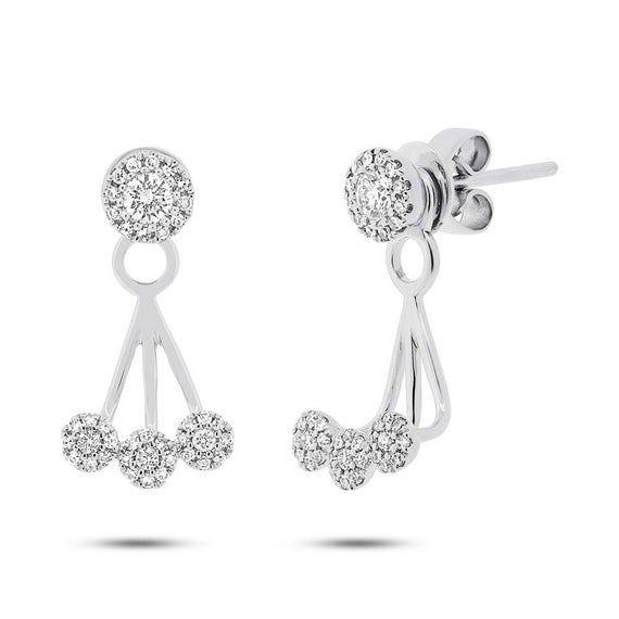 Round Cut White Cubic Zirconia Open Ear Jacket Stud Earrings In 14K White Gold Over Sterling Silver