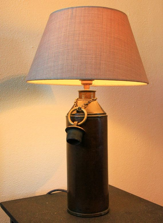 Koperen kruik lamp, vintage, verlichting, jaren 1930, tafellamp, sfeerverlichting, antiek, handgemaakt