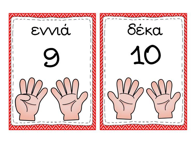Οι αριθμοί από το 0 μέχρι το 10 σε καρτέλες για τον τοίχο της τάξης!  (Προσωπικά έχω γεμίσει τον πίνακα με καρτέλες, και από πάνω και από κ...