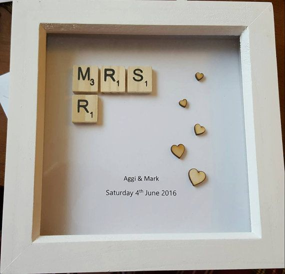 Mr & Mrs Scrabble Frame by pinkumbrellacraftco on Etsy