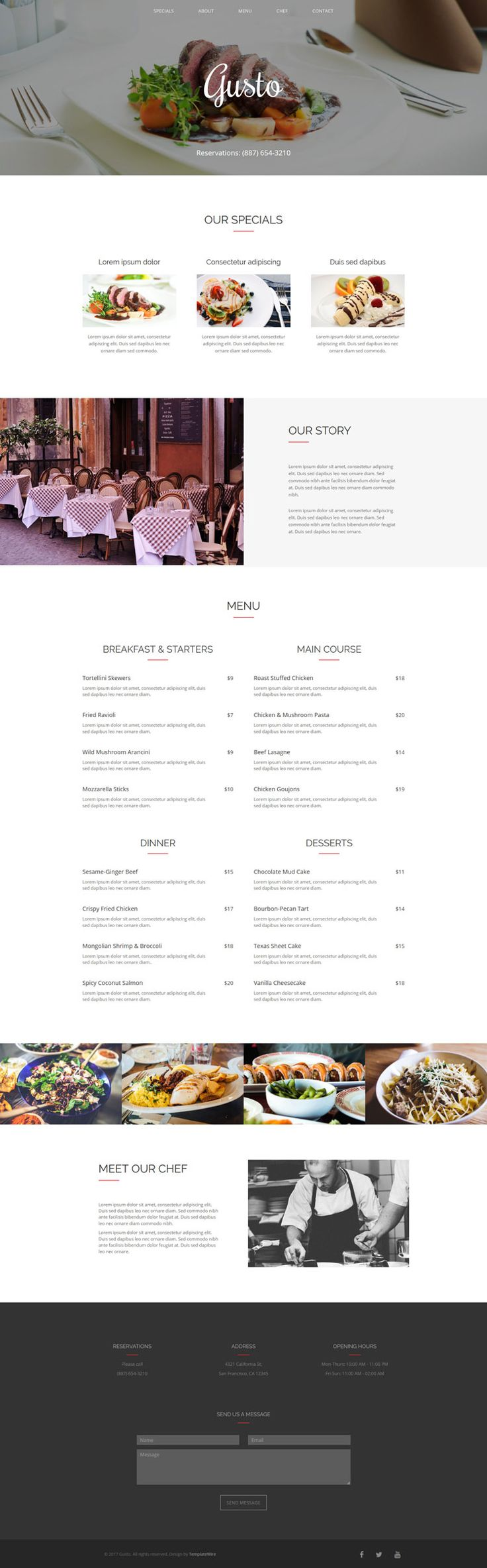 Gusto - Free Restaurant One Page Template