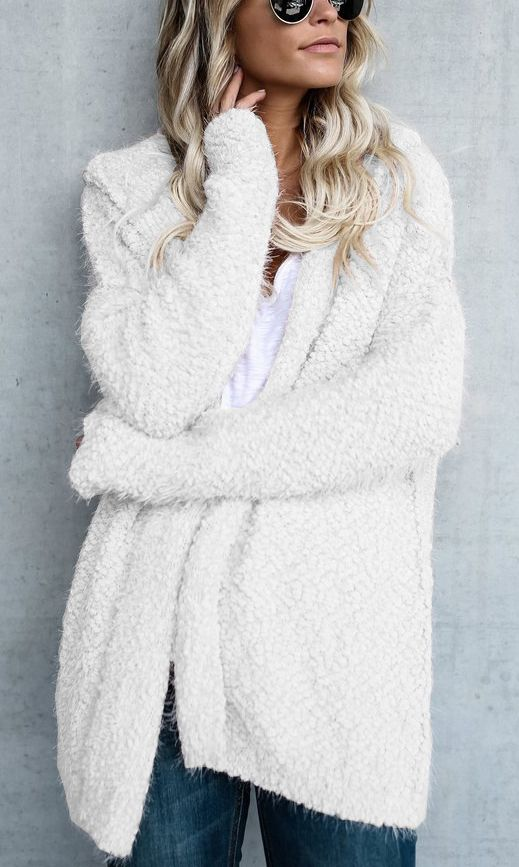 $36.99! Chicnico Simple Open Collar Solid Color Fluffy Cardigan! Find fashionable outfits for the new season.