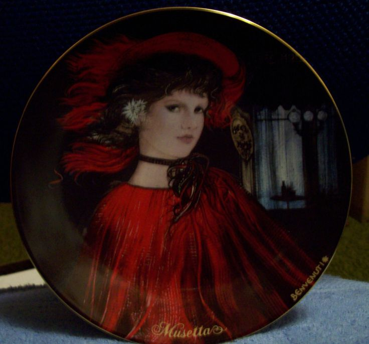 Vintage Itialian Decorative plate Musetta 1986 Plate # 9832A Victorian Woman in Red Beautiful!! Trimmed in gold by RustyRelicsTreasures on Etsy
