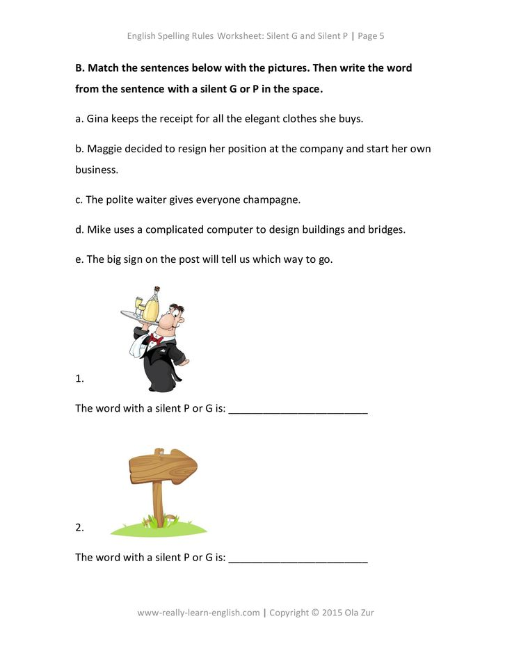 lesson and worksheets on english spelling rules for silent g and silent p esl ell teaching. Black Bedroom Furniture Sets. Home Design Ideas