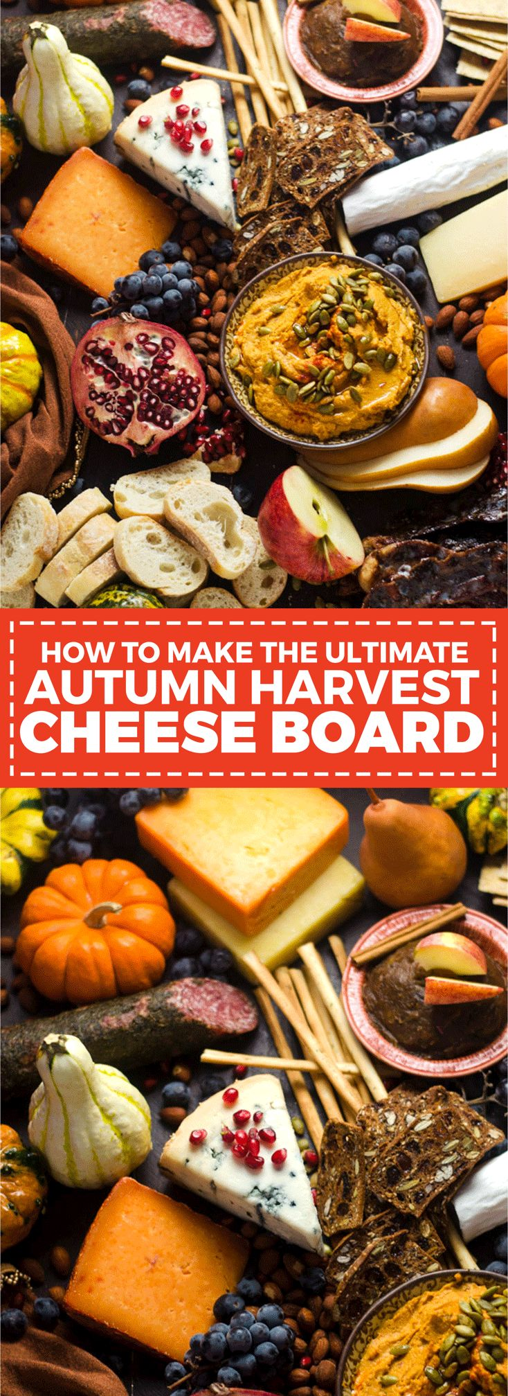 How To Make The Ultimate Autumn Harvest Cheese Board. Tips on selecting the best ingredients, plus recipes for Smoky Chipotle Pumpkin Hummus, Candied Bacon, and Bourbon Apple Butter! This is how you REALLY do Thanksgiving appetizers.   hostthetoast.com