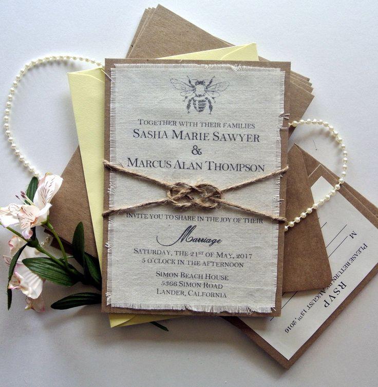 tie the knot wedding invitations etsy%0A Rustic Wedding Invitation Bumble Honey Bee Boho Fabric Knot Wedding  Invitation Ideas Bee Rustic Wedding Knot Invitation Sample