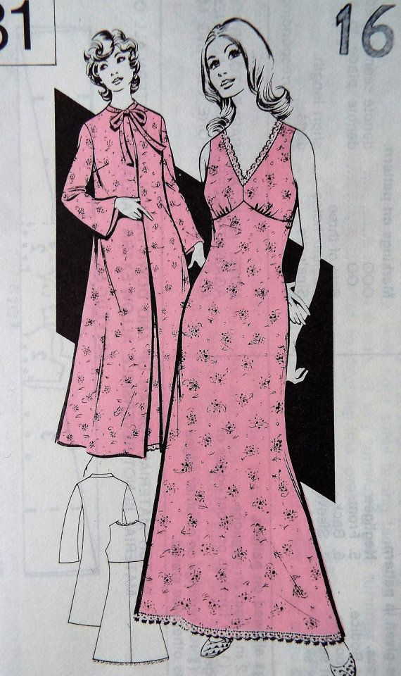 Vintage early 1970s British mail order sewing pattern from the newspaper the Sunday People  A pretty maxi night dress with a simple to make house