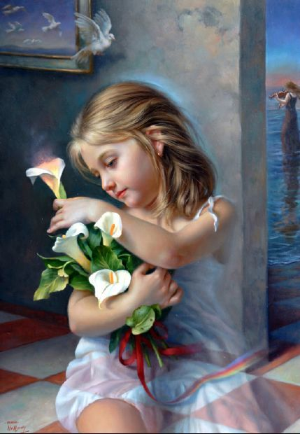 Alex Alemany (1943, Spanish).     Reminds me of Heather - my little saint and she loved this type of lily