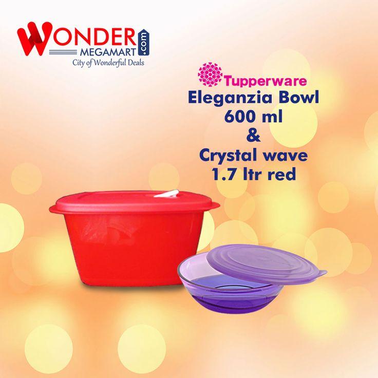 Best Tupperware Eleganzia Bowl 600 ml & Crystal Wave 1.7 Ltr Red…