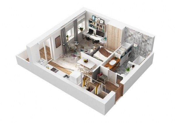 Living small with style 2 beautiful small apartment plans for 57 square meters to feet