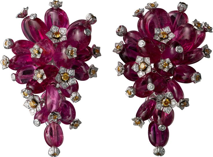 CARTIER Earrings - white gold, rubellite beads, orange and white brilliant-cut diamonds.