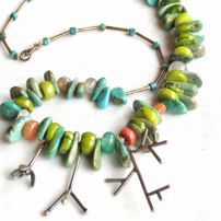 SAK3 Turkish turquoise sterling silver necklace. $220