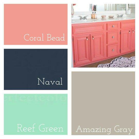 Master Bathroom Colors || Sherwin Williams Coral Bead (Picture: Coral Reef) » Sherwin Williams Naval » Behr Reef Green » Sherwin Williams Amazing Gray