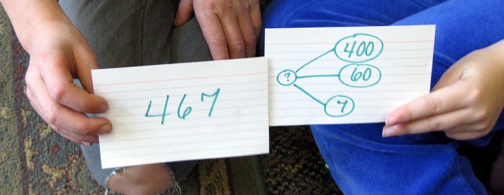From a grade 2 teacher-made place value matching game.