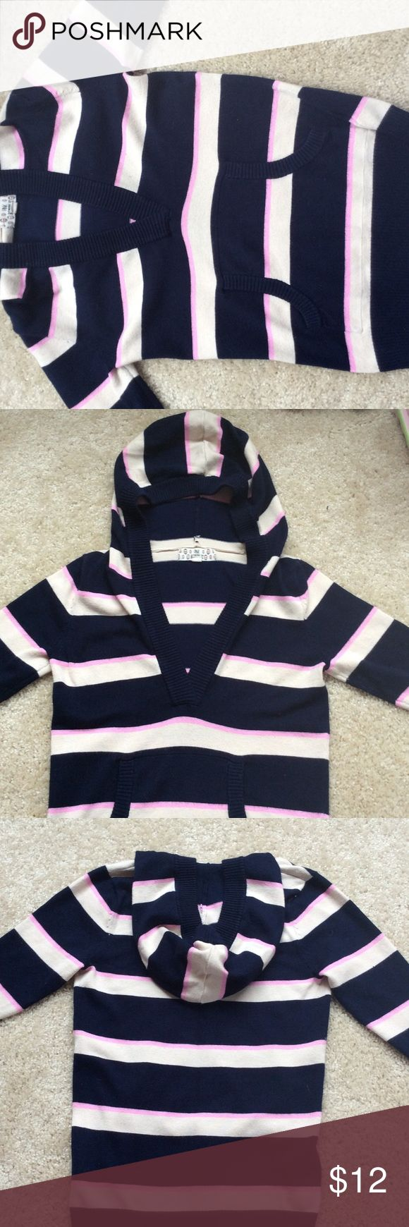 Striped hoodie Navy blue, pink, and cream color striped hoodie. Pink Republic Shirts & Tops Sweatshirts & Hoodies