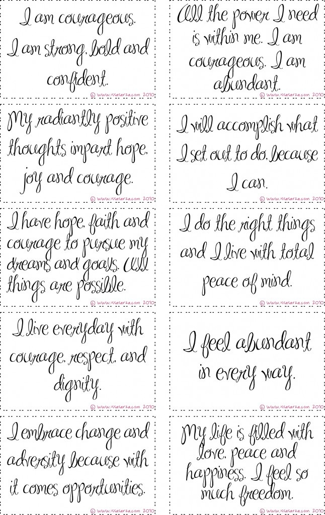 free printable courage affirmation cards