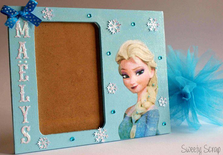 Cadre photo Reine des neiges personnalisé avec prénom : Décoration pour enfants par sweety-scrap