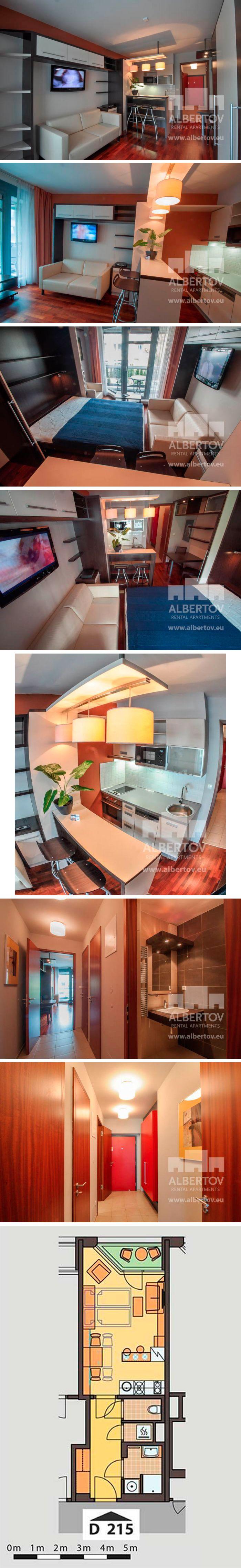 D.215 apartment for rent in Prague: dispozition: 1+kk, floor: 2, balcony, total: 32.7 m2. Albertov Rental Apartments, Horská 2107/2d, Praha 2. Reception: +420 602 22 66 33, reception@albertov.eu, www.albertov.eu