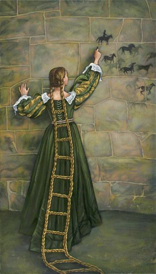 Rapunzel's Tower, acrylic by Laura Ramie. I love this because it depicts Rapunzel as an active agent and artist, not just as someone waiting around for the witch/prince all day.