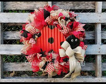 Ladybug Wreath, Summer Wreath, Burlap Wreath, Chevron Wreath, Mesh Wreath, Front Door Wreath, Outdoor Wreath, Welcome Wreath, Deco Mesh
