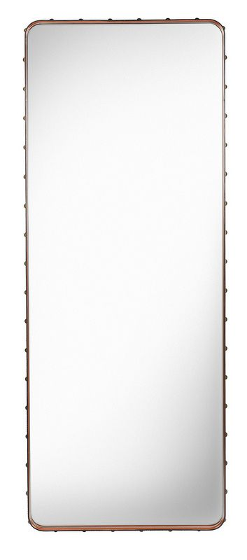 GUBI // Adnet Rectangulaire mirror in L, tan by Jacques Adnet
