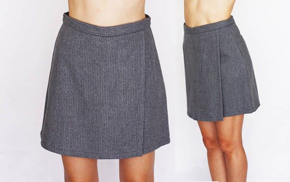 gray skort high waisted wool shorts A-line mini skirt shorts perfect fit preppy school girl schoolgirl short skirt skort S 28 29