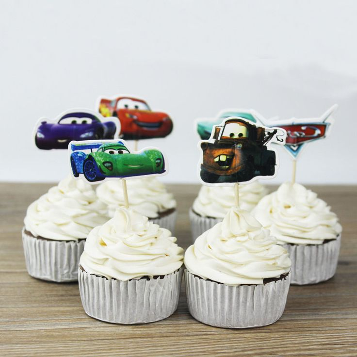 24pcs Cars Disney Cupcake Cake Toppers Muffin Decoration Boy Kids Birthday Party #Unbranded #BirthdayChild