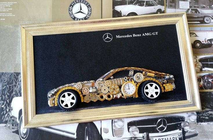 """♥ Mercedes Benz AMG GT model made from old clock parts and metal components unique model mimics the pattern already established ♥  ♥ PVC frame gold color, exterior size 41 cm x 24.5 cm ( 16.14"""" x 9.64"""" inches ), black background, the picture is perfect for a gift addressed especially to collectors ♥"""