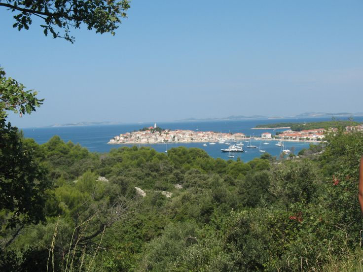 View over the Primošten. The city is situated on a small island.