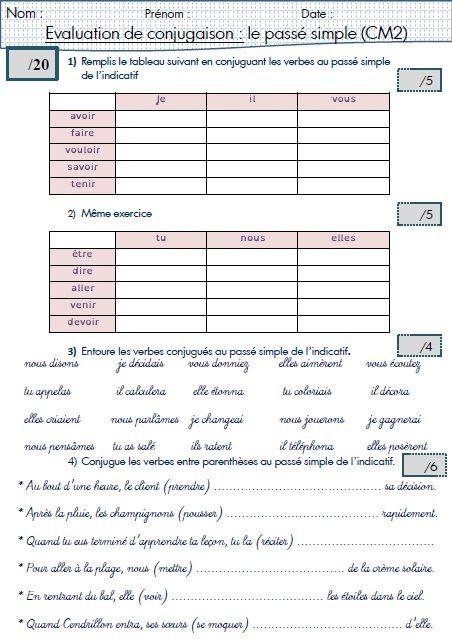 Une évaluation sur le passé simple (CM2) | Passé simple ...