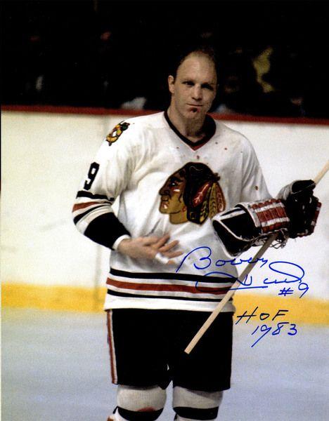 Bobby Hull Signed Chicago Blackhawks Blood On Jersey 11x14 Photo w/HOF 1983