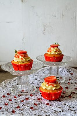 Theme Week: Strawberry-Rhubarb Cupcakes with Cream Cheese Frosting-