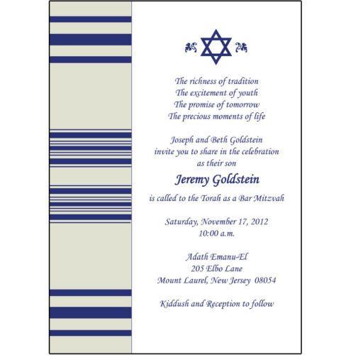 25 Personalized Bar Bat Mitzvah Party Invitations Tallis Star of David BM 21 | eBay