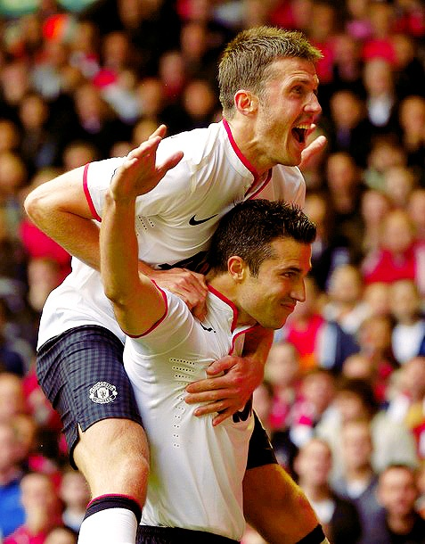 Michael Carrick and Robin Van Persie, Manchester United FC.