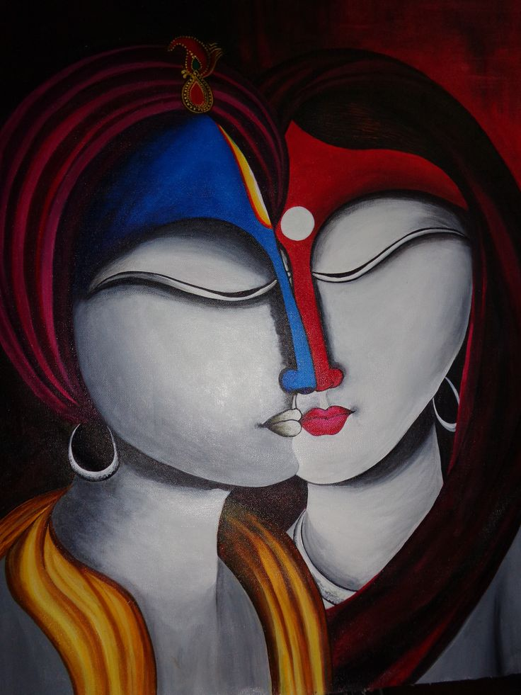 Modern Art Paintings Of Lord Krishna And Radha