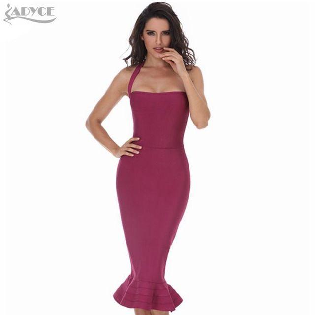 2016 Nova Mulheres Partido Bodycon Vestido Bandagem Sexy Vinho Caqui Vermelho Fora Do Ombro Halter Fishtail Midi Clube Sem Encosto Vestidos de Pista