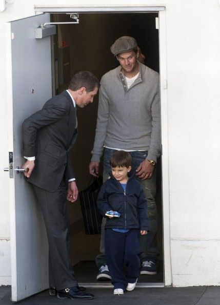 Tom Brady and son Benjamin Brady are seen in Beverly Hills.